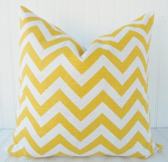 Decorative Pillow Cover - 18 x 18 - Yellow Throw Pillow - Yellow Zig Zag Chevron