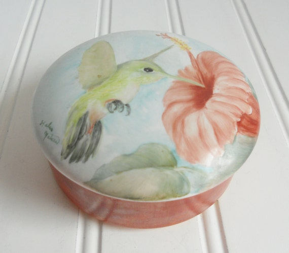 Vintage Trinket Box with Lid - Coral/Peach and Blue - Ceramic Trinket Box - Home Decor