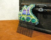 ART NOUVEAU cabochon bead embroidered hair comb
