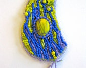 ALIEN GARDEN bead embroidered woven polymer clay necklace