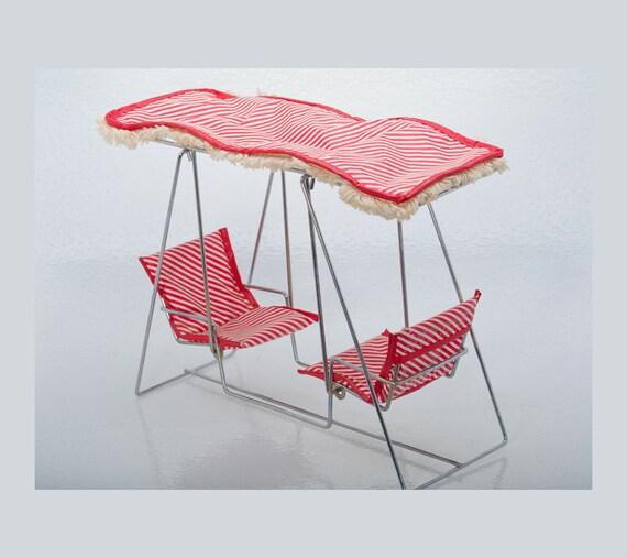 50s Watko Glider Swing Red White Doll Furniture