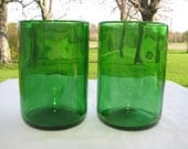 Bright Green Champagne Michigan Winery Bottles ReFlamed Glassworks Recycled Glass 2 Tumblers