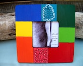 Hand-painted picture frame, bright colors, square wood frame