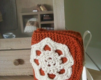 SUPER SALE-Handmade knitted women wallet-Orange and cream- lace design with cream ribbon