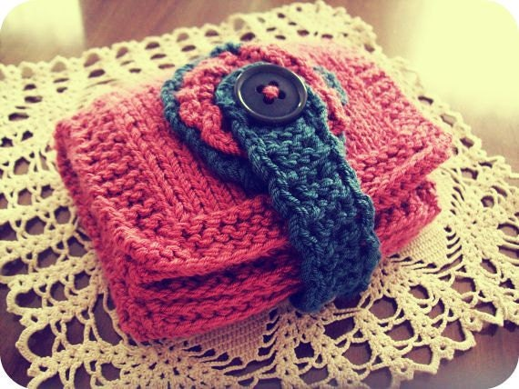 Handmade knitted women wallet-pink