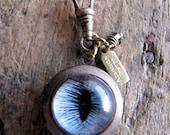 Blue Cat Eye Locket, Protector Series, Eyeball Jewelry,