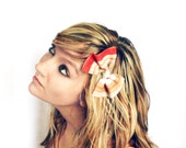 Orange Vintage Bow Clips. Tangerine, Recycled, Cream, Striped