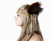Braided Feather Headband. Indian, Braided Yarn, Ostrich Feathers, Native American Style