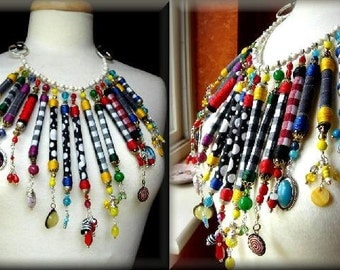 Ethnic Necklace Collier  - A Statement Piece of Power Dressing.  Fabric brought to life with magic ...