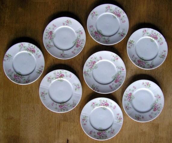 Sale Limoges Porcelain Dessert Plates Lot 8 Roses Pattern