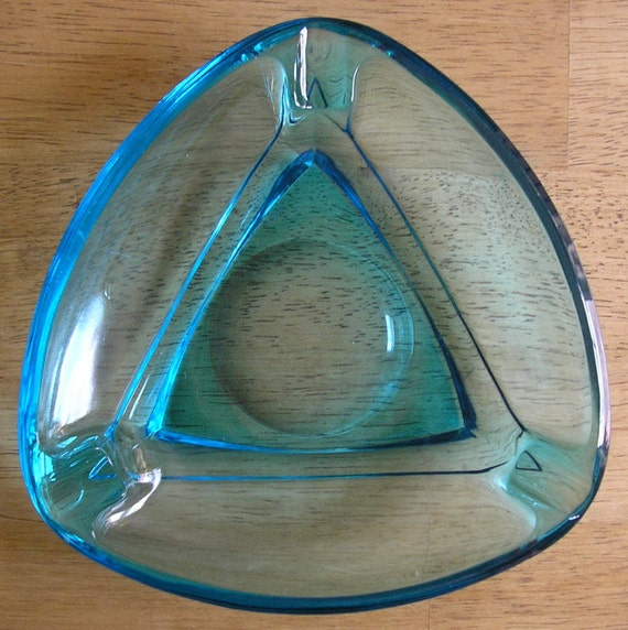 Turquoise Triangle Glass Ashtray - 50's Vintage
