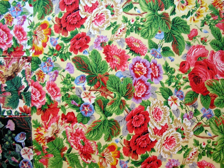 Sale Designer Floral Fabric Sample Oop Flowered Chintz
