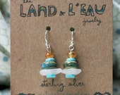 Natural Sea Glass and Stone Earrings