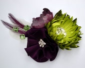 SAMPLE SALE - Spider Mum & Camellia Hair Fascinator with Feather Accents - Chartreuse, Raspberry, and Aubergine Palette