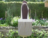 Ink and Cream Checked Tote Bag