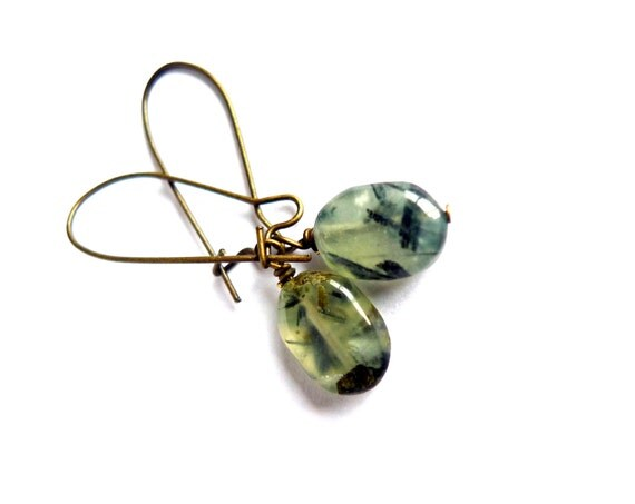 Prehnite Earrings - Everyday Jewelry, Green Gemstones
