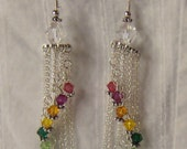 Sterling silver cyrstal rainbow chandeliearrings
