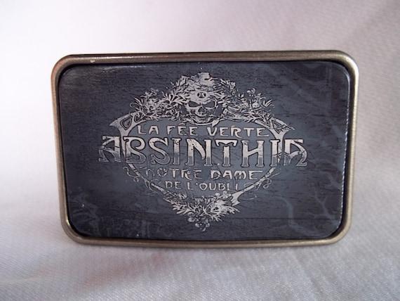Vintage Black and White Absinthe Label Leather Belt Buckle