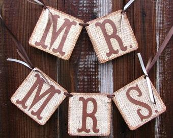 Burlap Banner Mr Mrs Wedding Banners Chair Signs