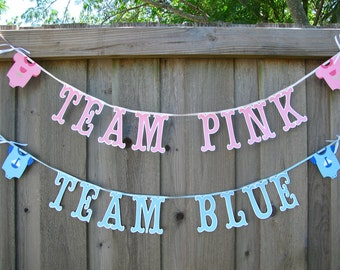 Gender Reveal Party Banner, Team Pink Team Blue Banners , Gender Reveal Ideas, Baby Announcement, Gender Announcement, Baby Shower Decor