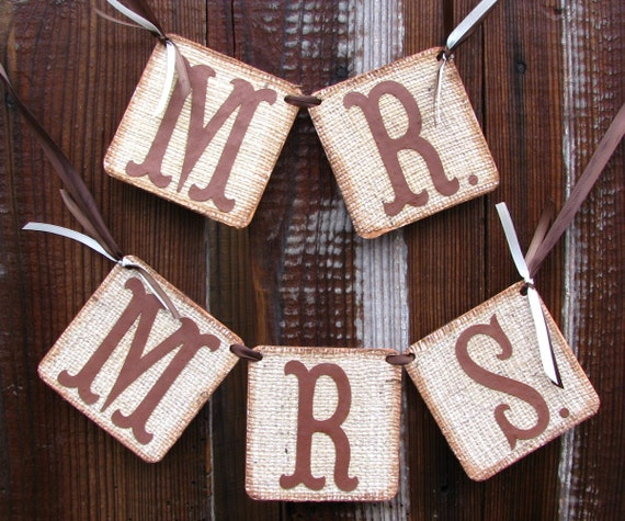 Burlap Banner Mr Mrs Wedding Banners Chair Signs