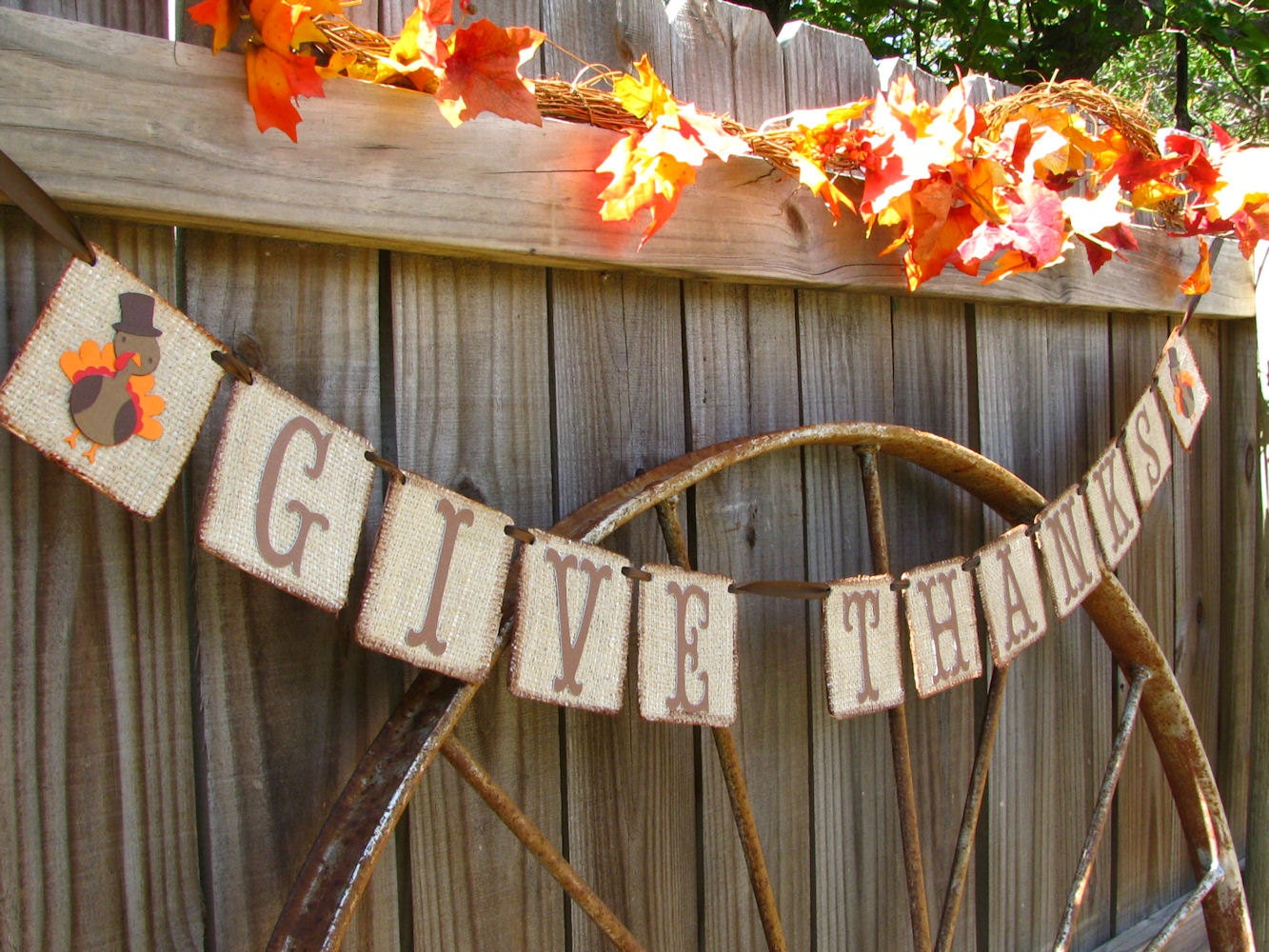 Thanksgiving banner give thanks rustic decor