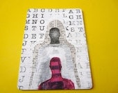 original ACEO pop art  --  funky silhouette portrait   --  whimsical alphabet  painting  --  hot pink, magenta, newspaper