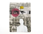 original aceo pop art collage  --  mod portrait, alphabet, street art --  silhouette, newspaper, red, yellow, typograhpy