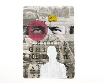 original aceo pop art collage  --  mod portrait, alphabet, street art --  silhouette, newspaper, red, yellow, typograhpy