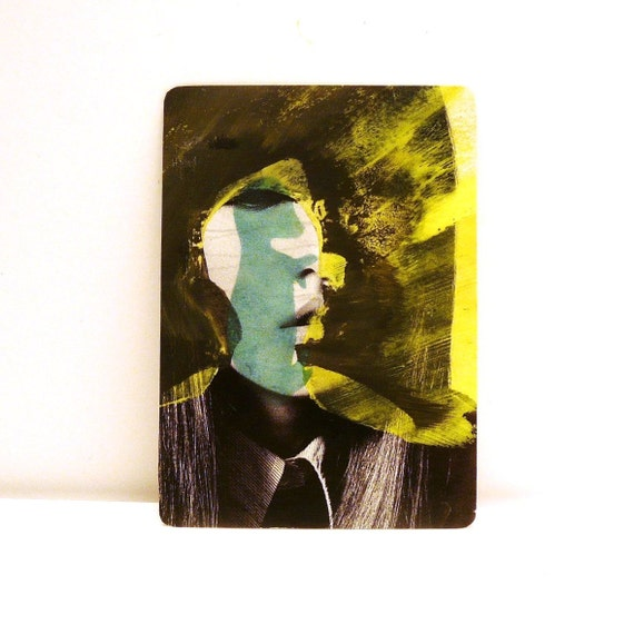 original ACEO  painting  --  altered silhouette portrait -- street art,  lowbrow mixed media collage, neon, yellow, blue