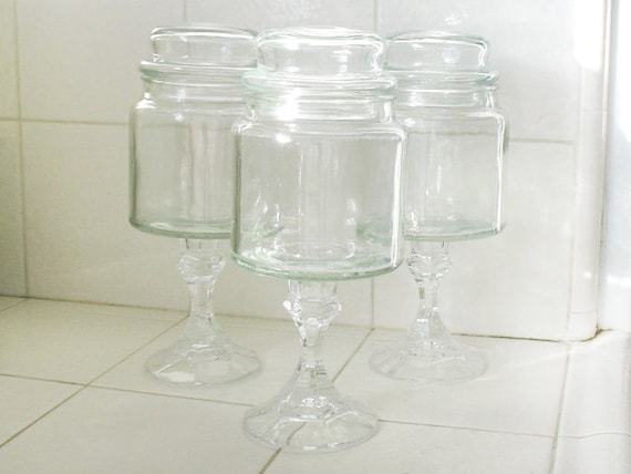 Glass Apothecary Jars, Set of 3
