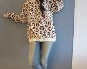 Vintage Leopard Oversized Cotton Sweater or Sweater Dress