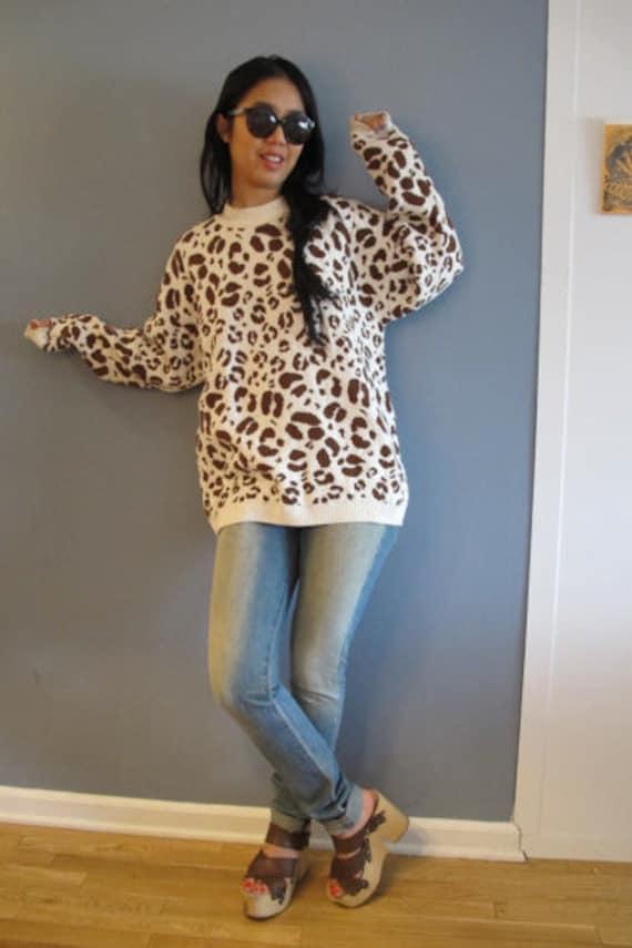 Vintage Leopard Oversized Cotton Sweater or Sweater Dress