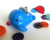 Handmade Painted Cerulean Blue Clay Whale Keychain