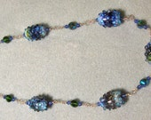 Lampwork beads and vintage Swarovksi crystal Wire Wrapped Sterling Silver Necklace