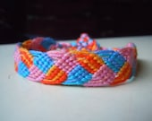SALE! Braided Leaves Friendship Bracelet - Orange, Blue, and Pink, Ready to Ship
