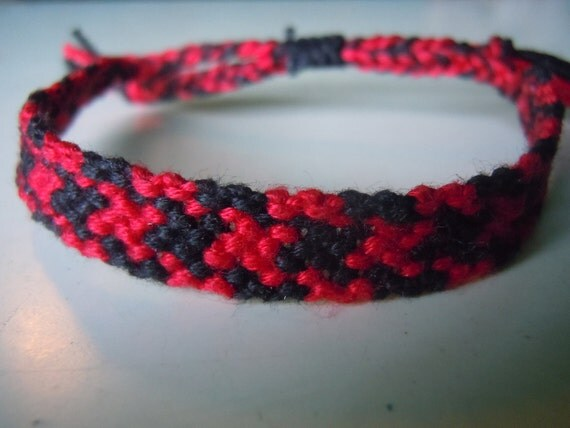 Friendship Bracelet - Red and Black Squares - Ready to Ship