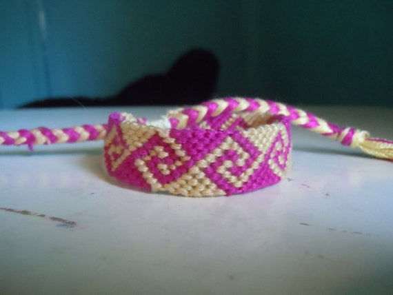 Friendship Bracelet - Pink and Yellow Waves - Ready to Ship
