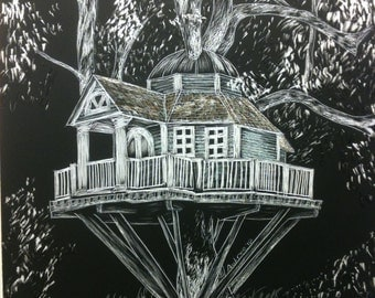 Whimsical Tree house art, fairy house, scratchboard - Artist Print