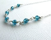 Teal Seven Crystal Necklace
