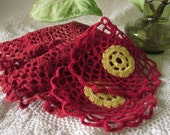 Three Vintage Red Crocheted Doilies One Large and Two Small with Yellow Centers