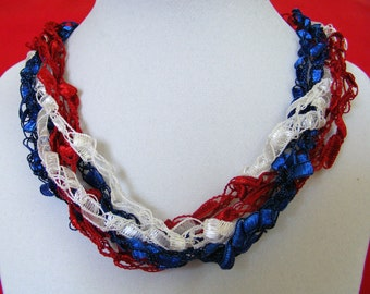 Patriotic Red, White & Blue Ladder Yarn Necklace