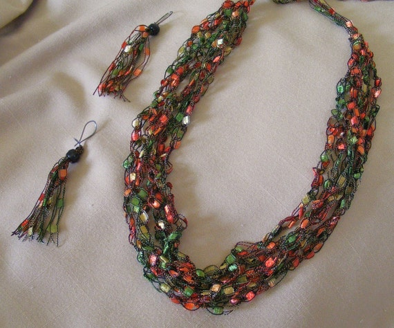 Autumn Leaves Ladder Yarn Necklace
