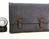 15 Inch MacBook Pro Case / Sleeve (Arbutus) - Anthracite Wool Felt with Dark Brown Leather