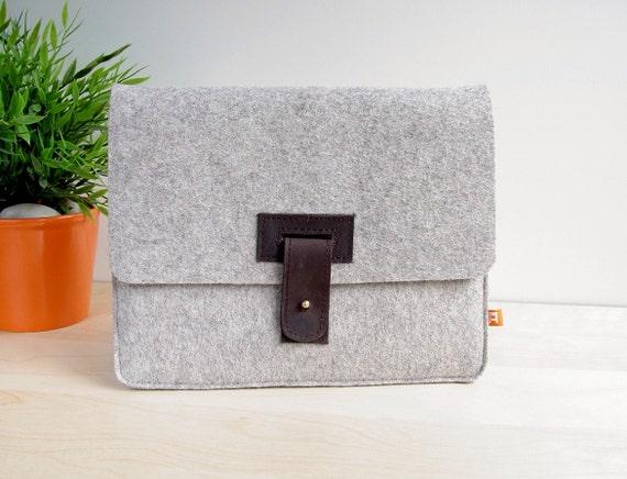 iPad Sleeve / Case - Gray Wool Felt with Dark Brown Leather