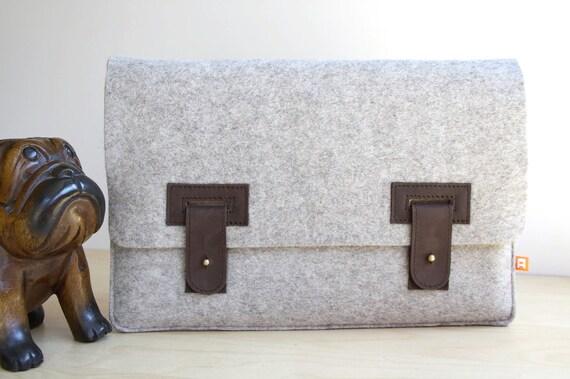 13 Inch MacBook Air Case / Sleeve (Arbutus) - Gray Wool Felt with Dark Brown Leather