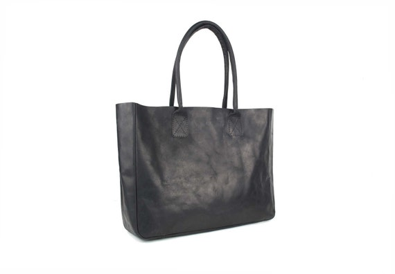 Leather Tote Bag (Everyday) - Top Grain Black Leather