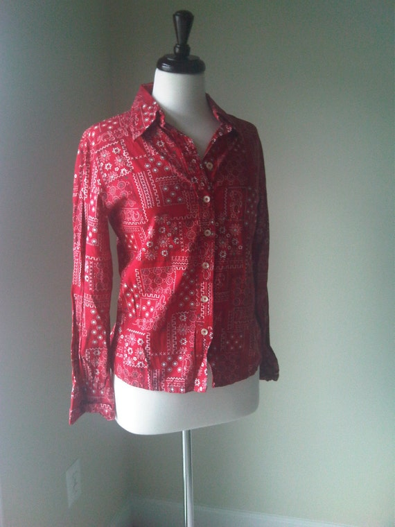Red Bandana Print Shirt