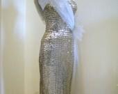 BOMBSHELL 1950s Couture Silver Sequin Strapless Hip Drape Wiggle Dress,pin-up, plunge,cocktail dress,vixen sex pot