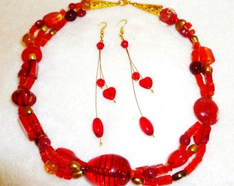 Red Glass and Acrylic Choker Necklace